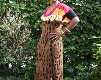 Crochet dress brown with colourful borders mixture of bamboo and high quality acrylic yarn handmade, female garment, vintage crochet design