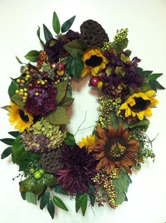 Summerl Wreath, Summer Decor, Door Wreath, Hydrangea, Sunflower Arrangement