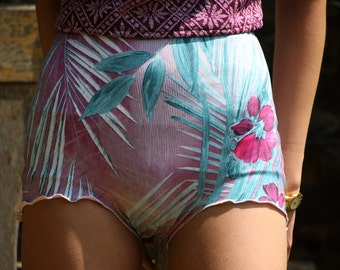 Tropical high waisted bikini shorts knicker shorts