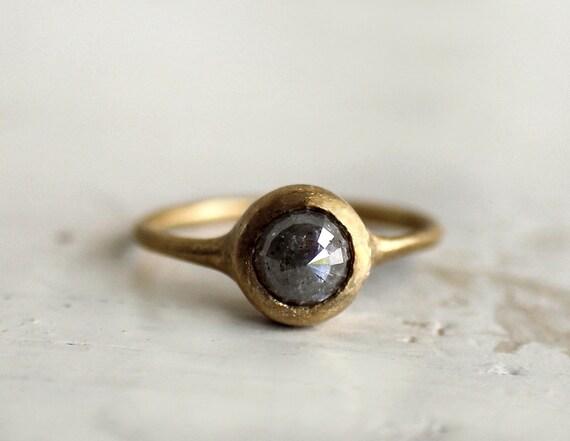 Reserved. Smoke grey rose cut diamond ring. Engagement. Ryan.