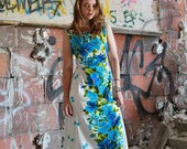 Vtg 60s Blue Hibiscus Maxi Dress / Hawaiian Bombshell / Tropical Tiki