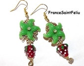 Red strawberry lampwork dangle EARRINGS Romantic Dainty gold green filigree Crystal rhinestone baroque costume jewelry juicy fruits