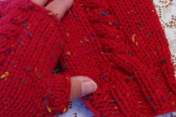 Cabled Cozy Fingerless Gloves Bright Red Stocking Stuffer