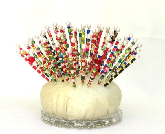 Pincushion, Sea Urchin, Art Object, Over the Top, Pinsies, Beaded Pins, Gift for Quilter, Gift for Artist, Silk