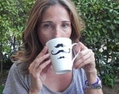 Mustache mug - Hand painted mug - funny gift for him for her