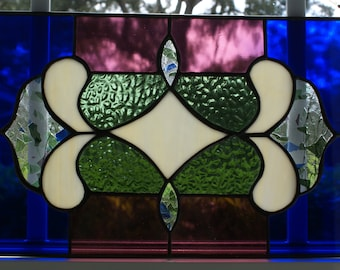Victorian Inspired Stained Glass Panel - Extremely Unusual - Brilliant Colors and Textured