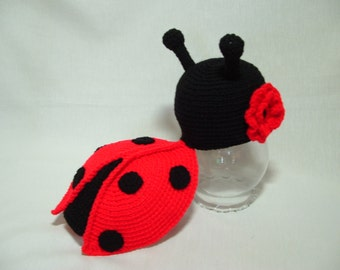 Adorable Newborn Lady Bug Girl Outfit. With Flower 0 - 3 m.Great for Infant Photo Prop. Gift for Baby Shower