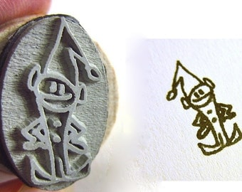 Elf Stamp - Santa's Little Helper - Small 2.2cm long- Minion Elf Stamp drawn by Super SOCK