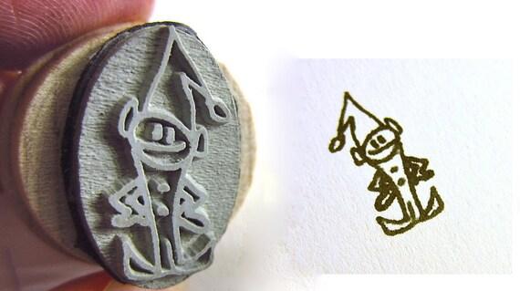 Elf Stamp - Santa's Little Helper - Small 2.2cm long- Minion Elf Stamp drawn by Super SOCK