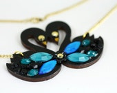 Black Swan Necklace Pendant with Blue Rhinestones