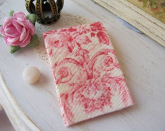 Cranberry n Cream Toile Tea Towel for Dollhouse Kitchen, 1:12 scale miniature