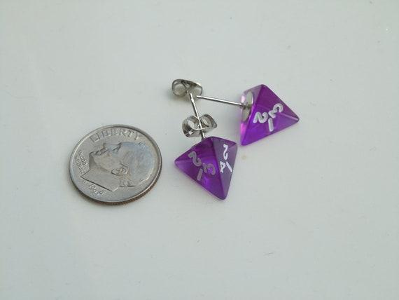 Geek Mini Dice Earrings Post Purple