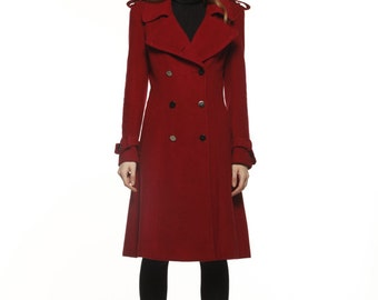 Wine Red Big Lapel Coat Double Breasted Wool Military Slim Winter Coat - Custom Made - NC475