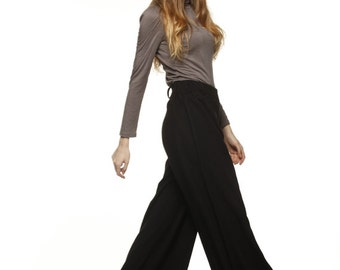 On Sale Size S Casual Elastic Waist Wide leg Long Skirt Pants in Black-NC477-1