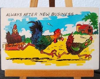 1950s Rooster Hen Postcard, Barnyard Farm Animal Comic Tichnor Brothers Unused Post Card