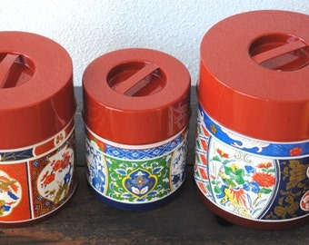 Vintage Chinoiserie Nesting Canister Set, GHC Mid Century Metal Kitchen Decor Storage