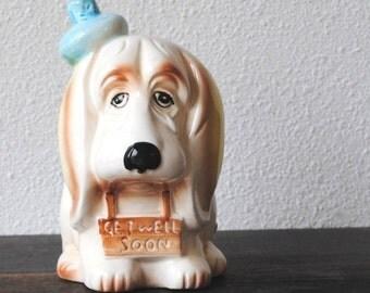 Vintage Hound Dog Planter Flower Pot, Relpo Large Figurine Statue No 7876