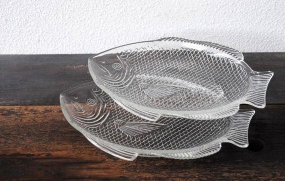 Vintage glass fish platter plate set oven proof usa mid for Fish serving platter