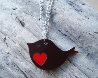 Robin Red Breast acrylic necklace