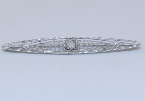 Art Deco Pin Antique Filigree Brooch 14K White Gold Old Miner Diamond Brooch Pin Circa 1920