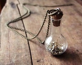 Fairy Dust in a Bottle Necklace. Miniature Jar on Tarnished Gold Chain