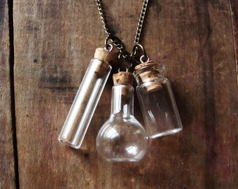 Empty Miniature Jars Necklace, Three Different Style Miniature Bottles on Chain, Tiny Glass Vials