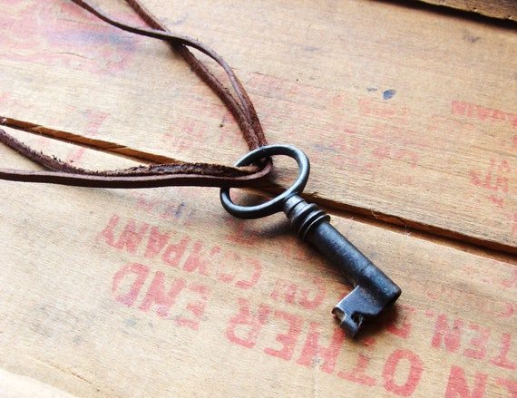 Skeleton Key Necklace on Leather Cord for Him or Her. Vintage Rare Style Key with Natural Tarnish & Weathering. Real Authentic Key