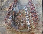 One of a Kind Vintage Iranian Wood Blocked Cotton Circa 1960's Bohemian Bag