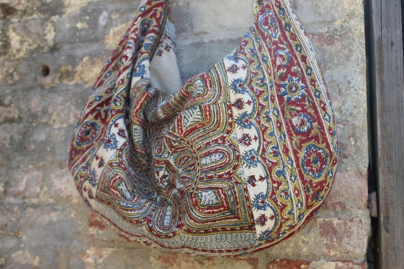 One of a Kind Vintage Iranian Wood Blocked Cotton Circa 1960's Bohemian Bag