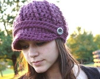 Crochet Newsboy Hat- Fig