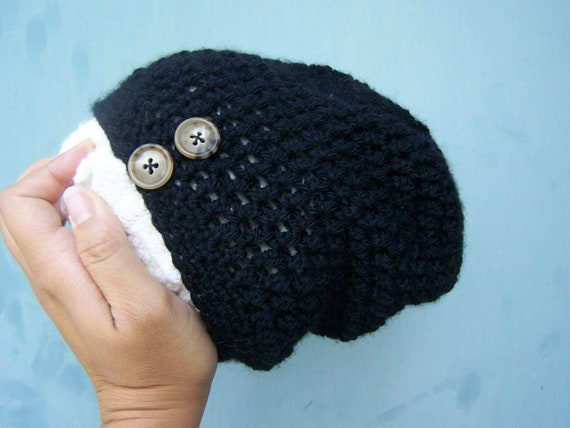 Black Hipster Babies Baby Slouch Beanie Black