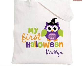 Halloween Trick or Treat Bag - Personalized Owl Bag - 1st Halloween Trick or Treat Bag - Halloween Candy Bag