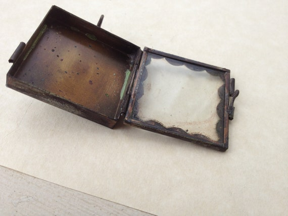 Small Shrine Box: Antique Brass, Distressed, Square, Scalloped Edging, Glass, Pendant,