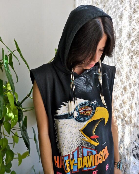 90s Harley Davidson Rules Eagle Sleeveless Hooded Sweat Shirt