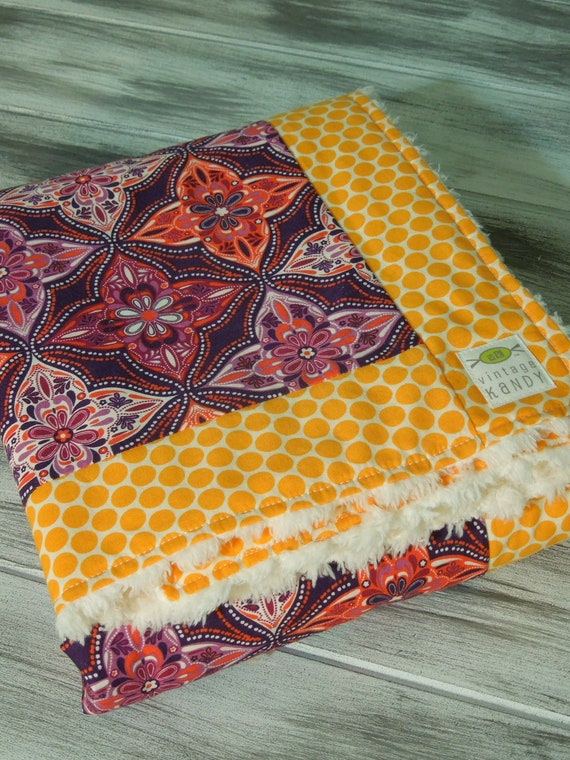 Baby Girl Modern Quilt/Blanket - the QUILANKET - Soft minky fleece backing (ready to ship)  - Sweet Batik with Dot Border