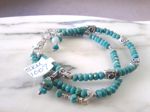 Turquoise Bracelet double Strand loaded with handmade Sterling Silver accents Sundance Southwestern Cowgirl Style