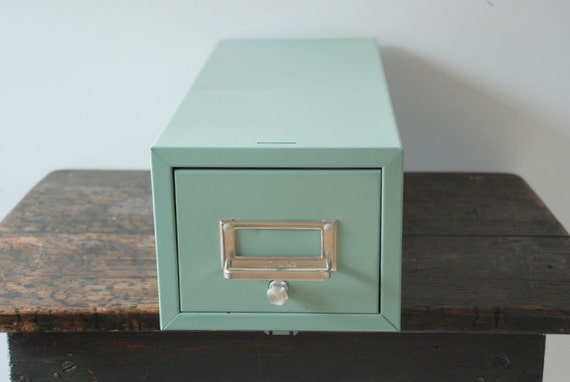 Vintage LIT-NING Blue Industrial Index File Cabinet Box with A-Z File Cards