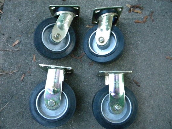 4 clean vintage never used bassick industrial FACTORY WAREHOUSE cart wheels