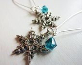 Falling Snowflake Earrings - Winter and Christmas Snowflake Earrings by Weirdly Cute Jewelry - Holiday Gift Idea Under 25