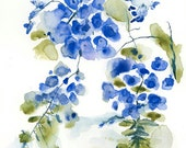 Blue Flowers Original Abstract Art Watercolor Painting 8x8 Ultramarine Boho Mothers day gift for her