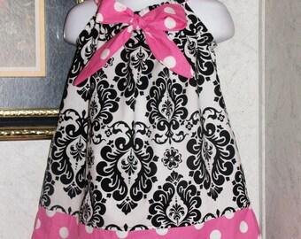 New Handmade minnie mouse damask  polka dot  pink ribbon pillowcase dress size 3mos,6ms,9mos,12mos 18mos,24mos,2t,3t,4t,5T,6Y