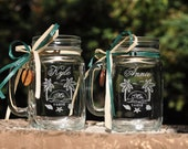 Beach Wedding Mason Jar Table Setting