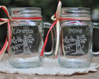 Apple Orchard Wedding Personalized Mason Jars, Bride and Groom or Mr and Mrs