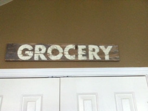Grocery  Sign Painted on Fence Picket