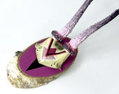 PINK & PURPLE GLITTER geometric aztec arrow painted antique deer skull and antlers with black and fuchsia
