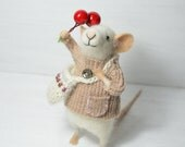 Little Traveler Collector Mouse - unique - needle felted ornament animal, felting dreams made to order