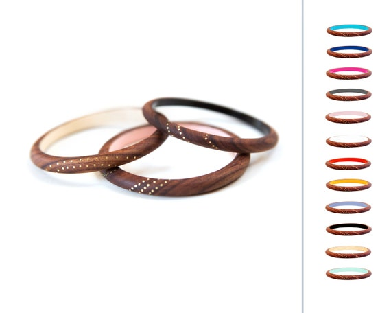 Set of THREE Skinny Rosewood Bangles:  Pick your Colors Made to Order S M L