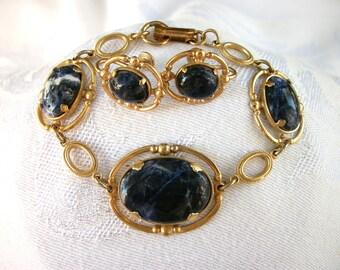 Vintage Uncas Blue with Goldtone Metal Bracelet and Screw Back Earrings Set