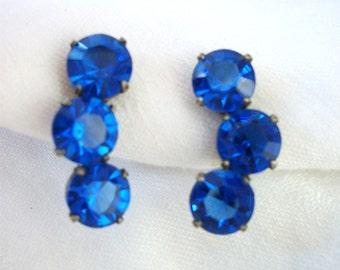 Sterling Silver Earrings Screw Back Non Pierced ~Vin.tage  - Sapphire Blue Rhinestone