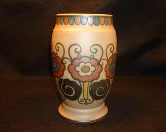 L HJORTH  Brown and Blue  Pottery Vase,  BORNHOLM Denmark, Collectible Scandinavian Pottery, Housewarming gift, Christmas